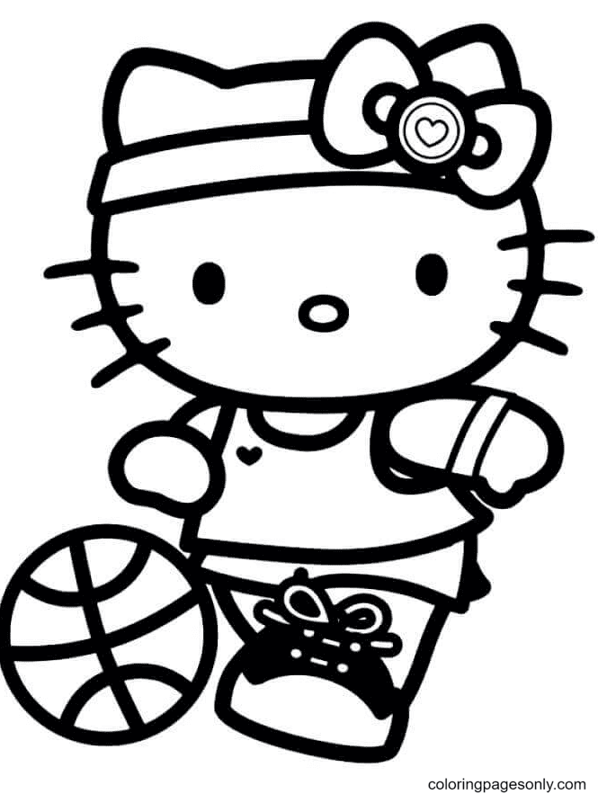 Hello Kitty Playing Basketball Coloring Page