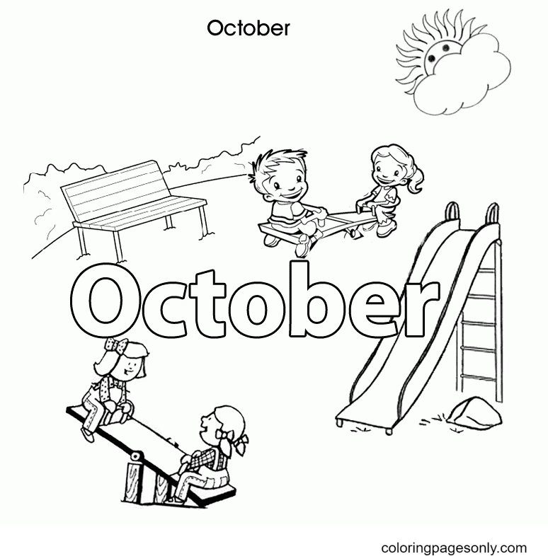 Hello October Autumn Coloring Page