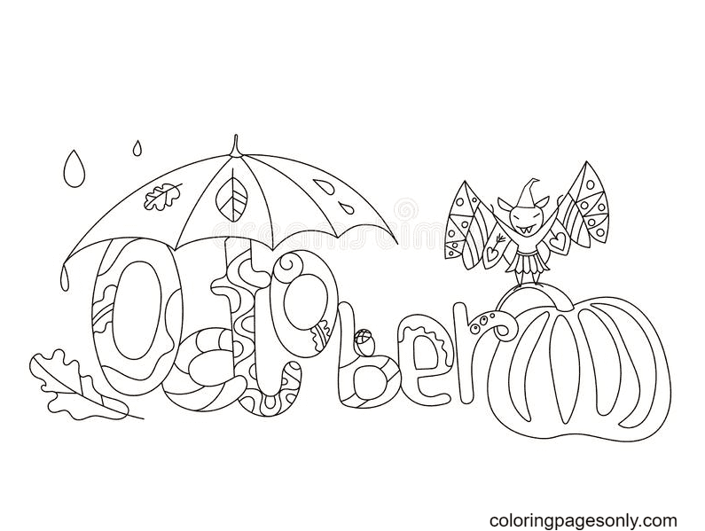 Hello October Fall Coloring Page