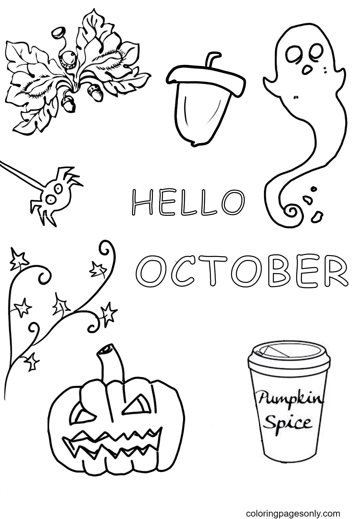 Hello October Halloween Coloring Page