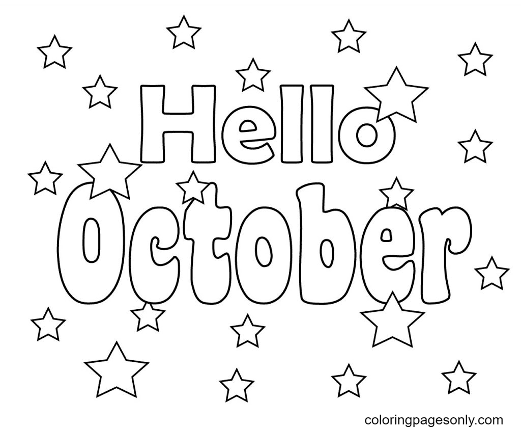 Hello October with Stars Coloring Page