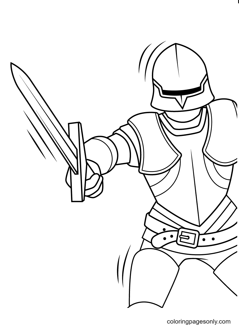 He's Swinging his Sword Down Hard Coloring Page