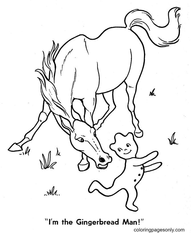 Horse and Gingerbread Man Coloring Page