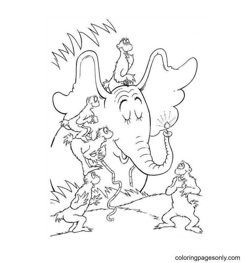 Horton With Friends Coloring Page