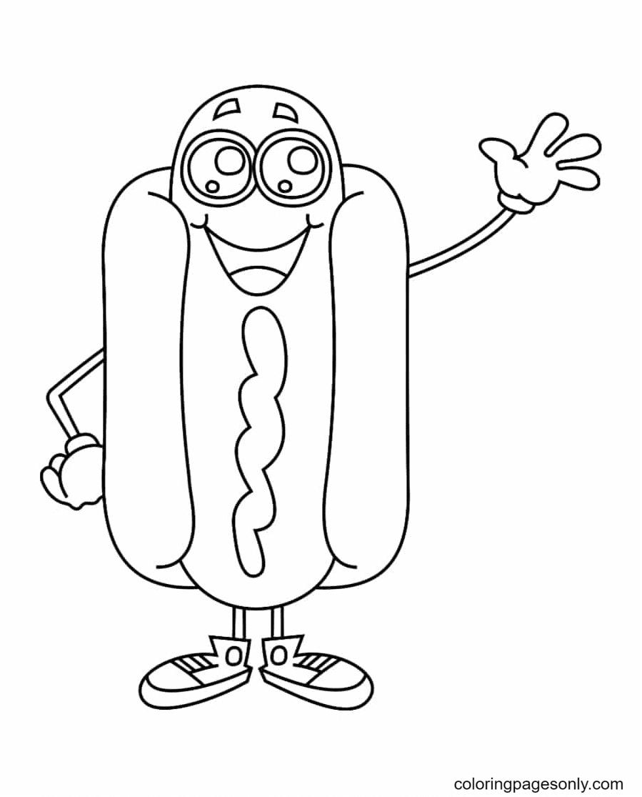 Hotdog Kawaii Coloring Page