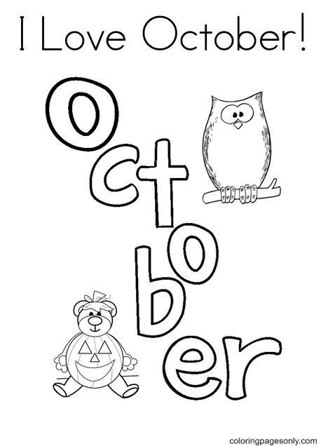 I Love October Coloring Page