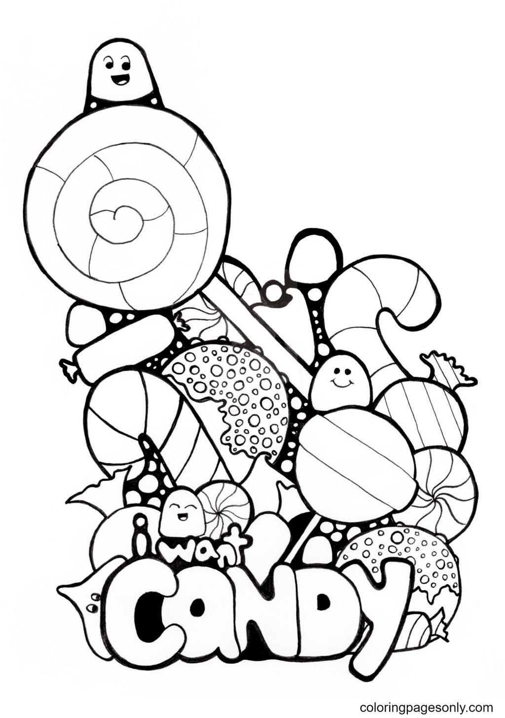 I Want Candy Coloring Page