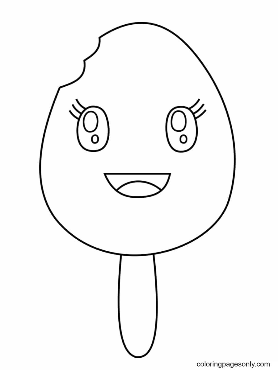 Ice Cream Happy Kawaii Coloring Page