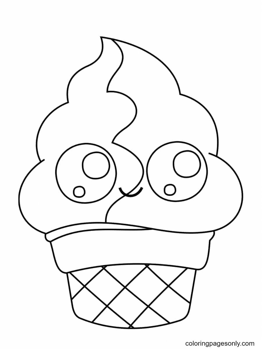 Ice Cream Kawaii Coloring Page