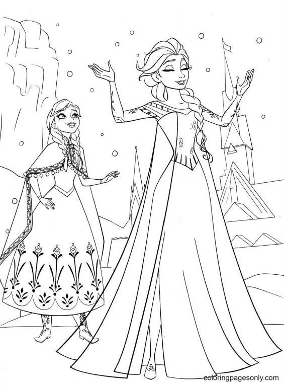 Ice Queen and Anna Coloring Page