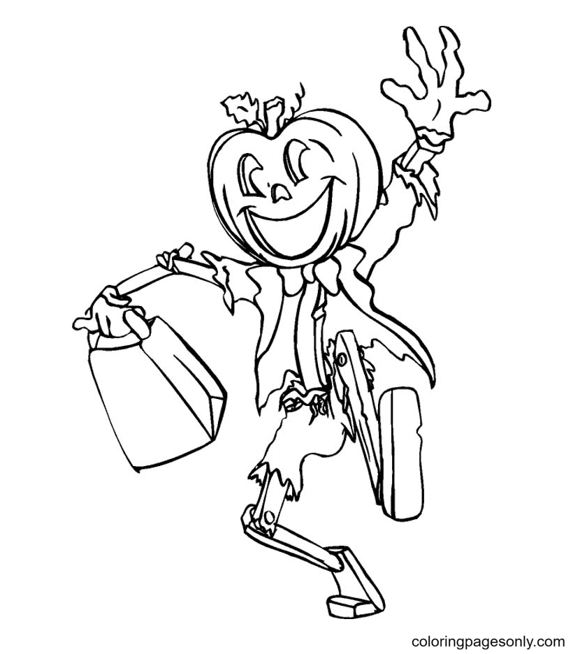 Jack O' Lantern Happy Halloween Day Coloring Page