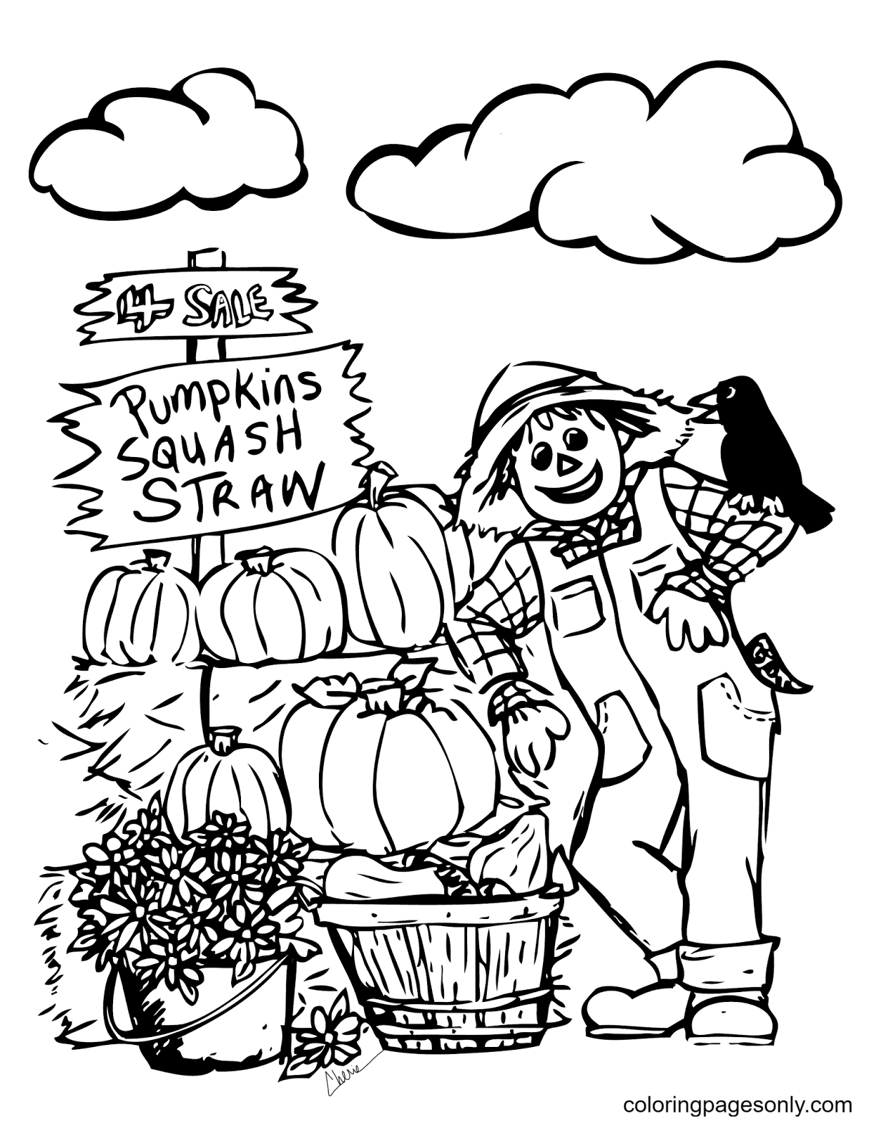 Jack O Lantern Scarecrow With Pumpkins Coloring Page