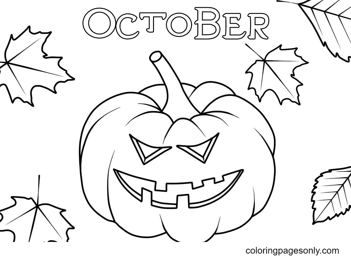 Jack O Lantern in October Coloring Page