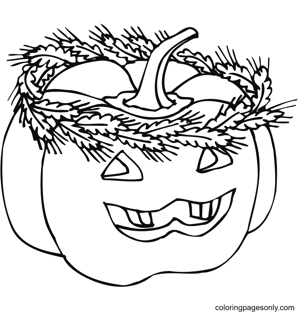 Jack-o'-lantern with Wheat Wreath Coloring Page