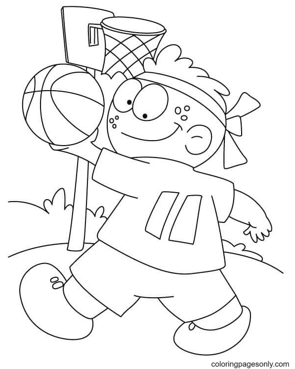 Johnny Plays Basketball Coloring Page