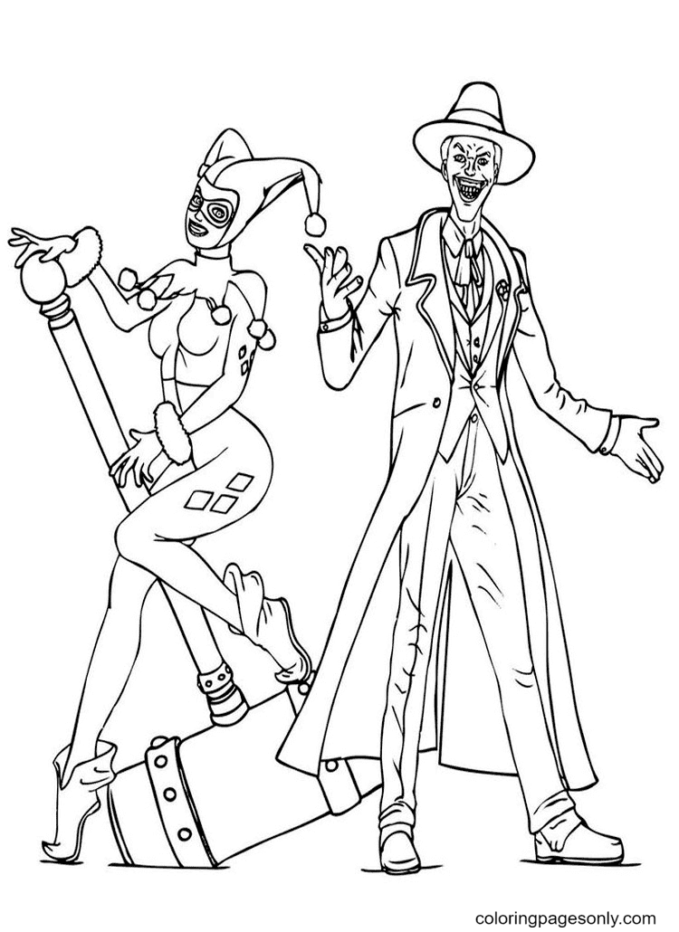 Joker, Harley Queen Coloring Page