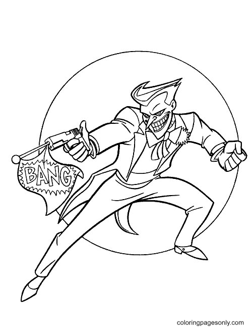 Joker Holding a Gun Coloring Page