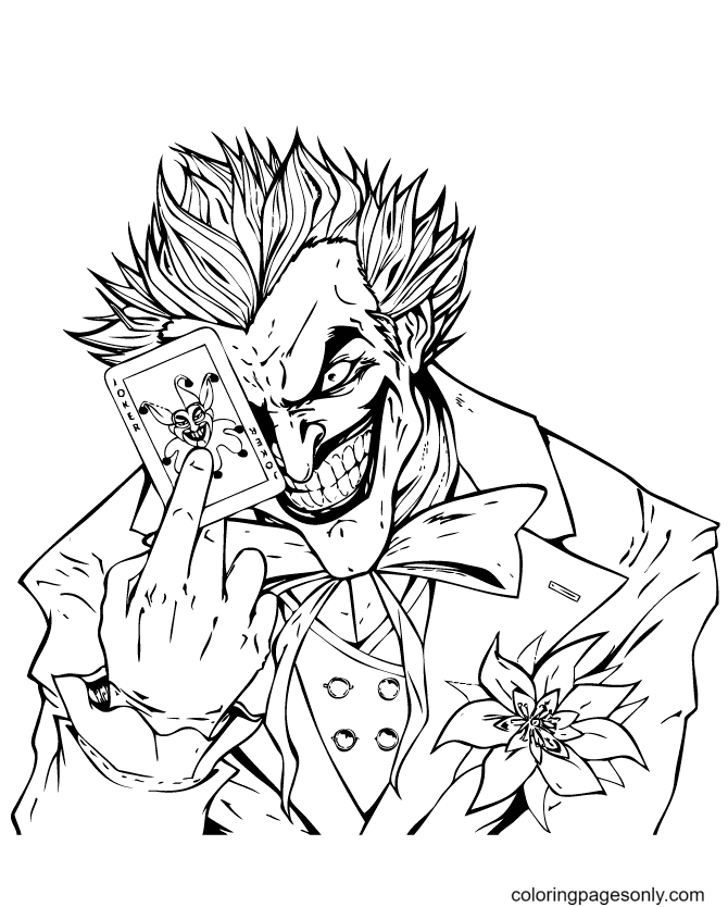 Joker Laughs Scary Holding a Card Coloring Page