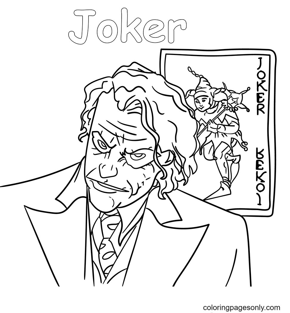 Joker With Cards Coloring Page