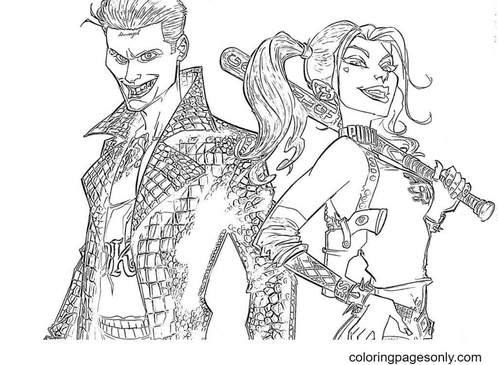 Joker and Harley Coloring Page