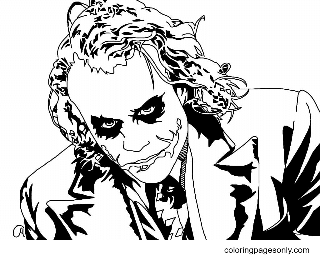 Joker from The Dark Knight movie Coloring Page