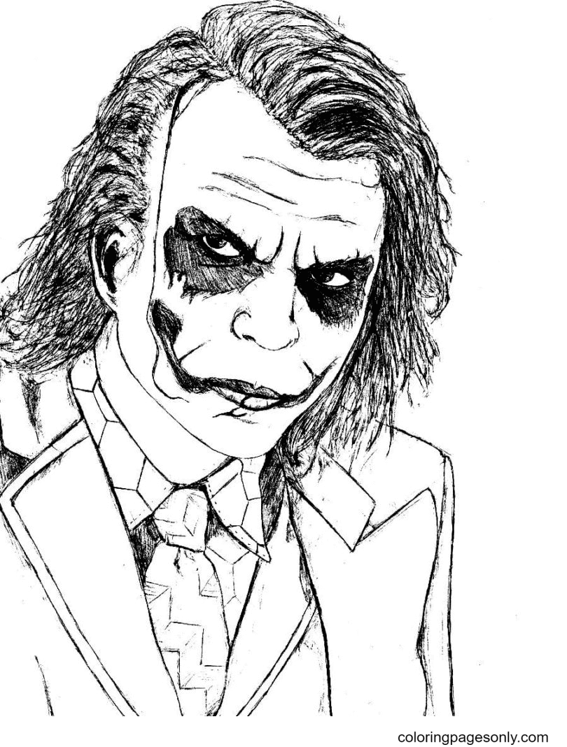Joker from the Dark Knight Coloring Page