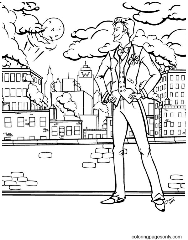 Joker in the City Coloring Page