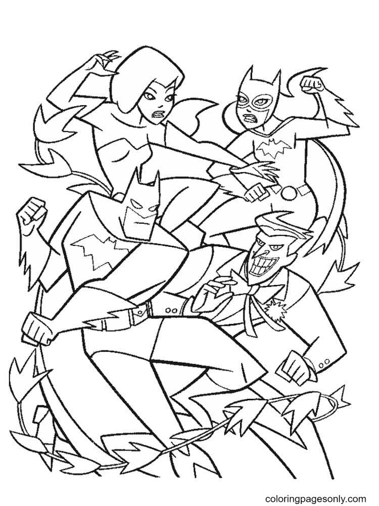 Joker vs Batman Coloring Page