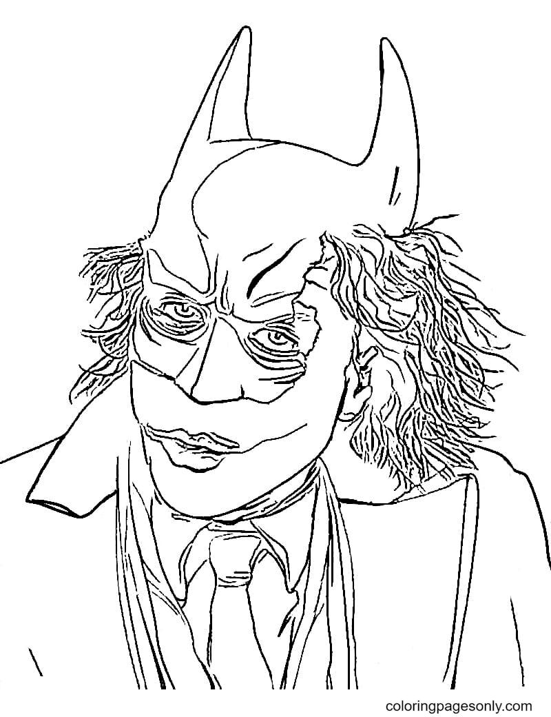 Joker wears Batman Mask Coloring Page