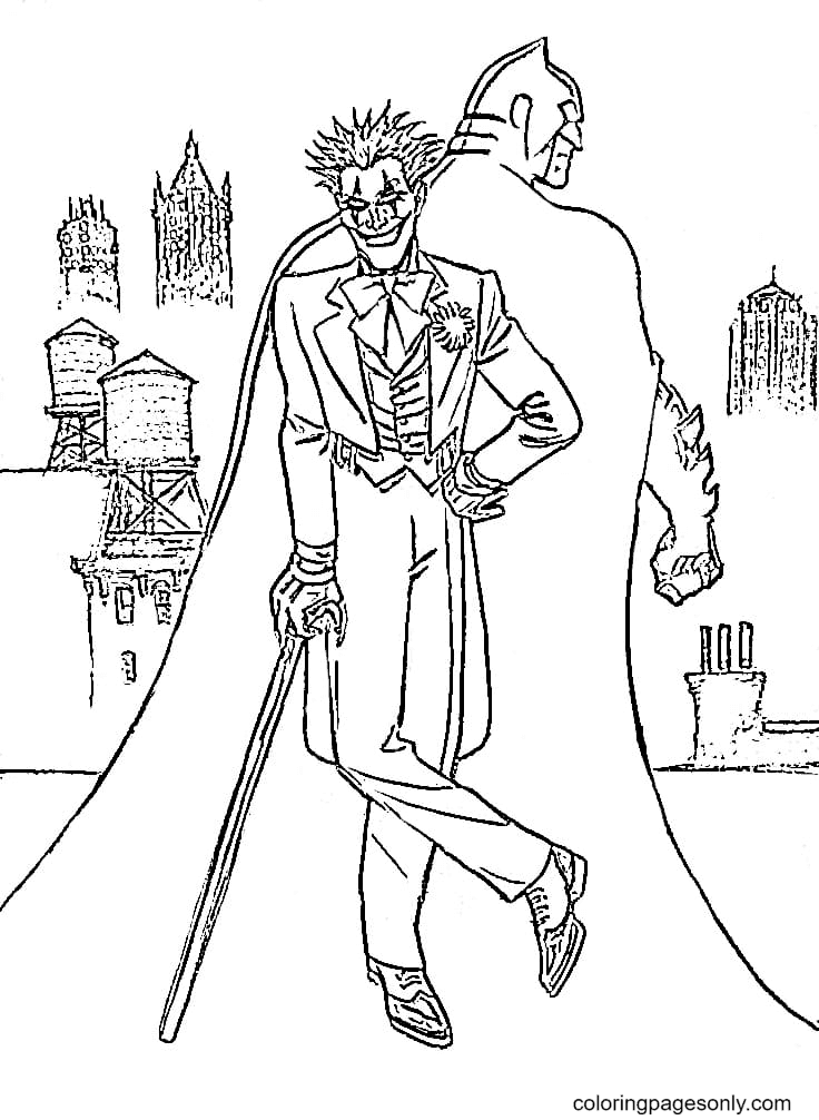Joker with Batman Printable Coloring Page