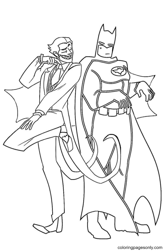 Joker with Batman Coloring Page