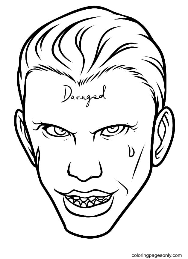 Joker with a tattoo on his face Coloring Page