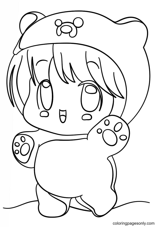 Kawaii Chibi Girl Coloring Page