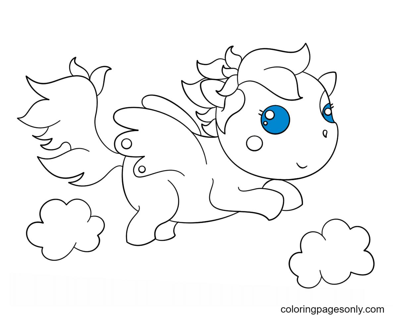 Kawaii Chibi Pegasus Coloring Page