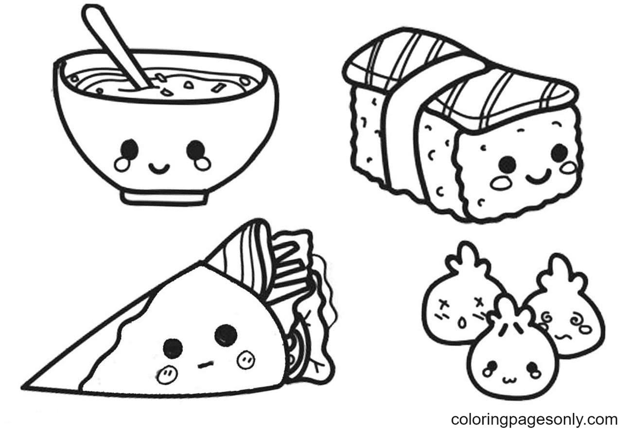Kawaii Chinese Food Coloring Page