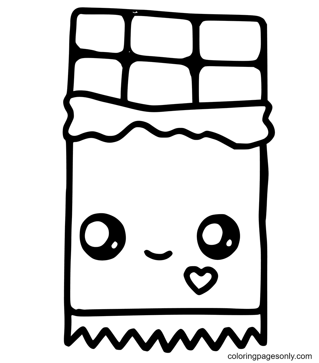 Kawaii Chocolate Bar Coloring Page