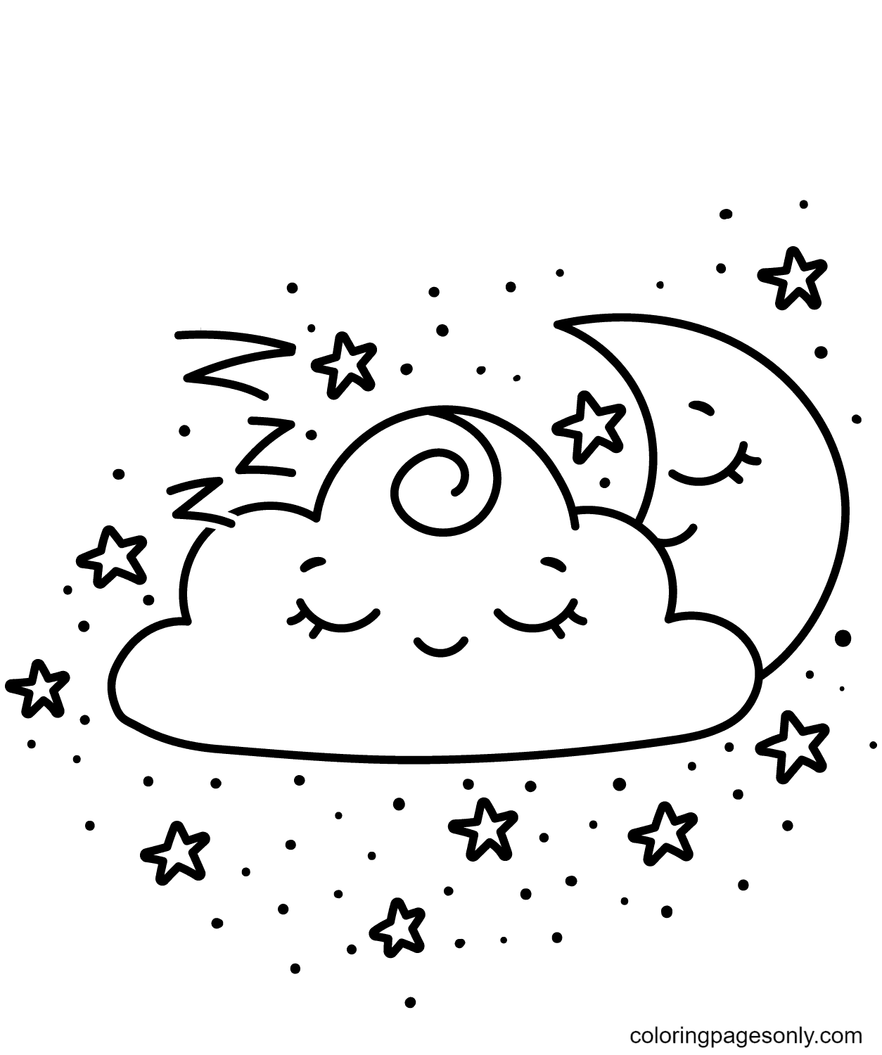 Kawaii Crescent and Cloud Coloring Page