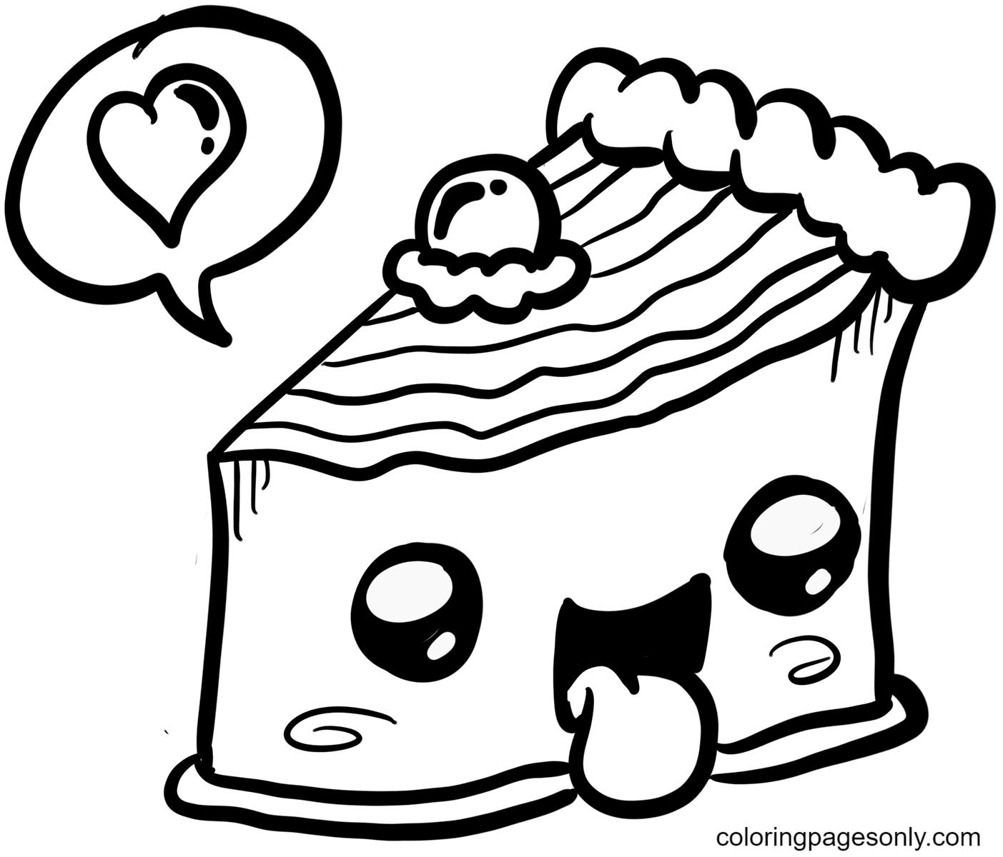 Kawaii Delicious Cake Food Coloring Page