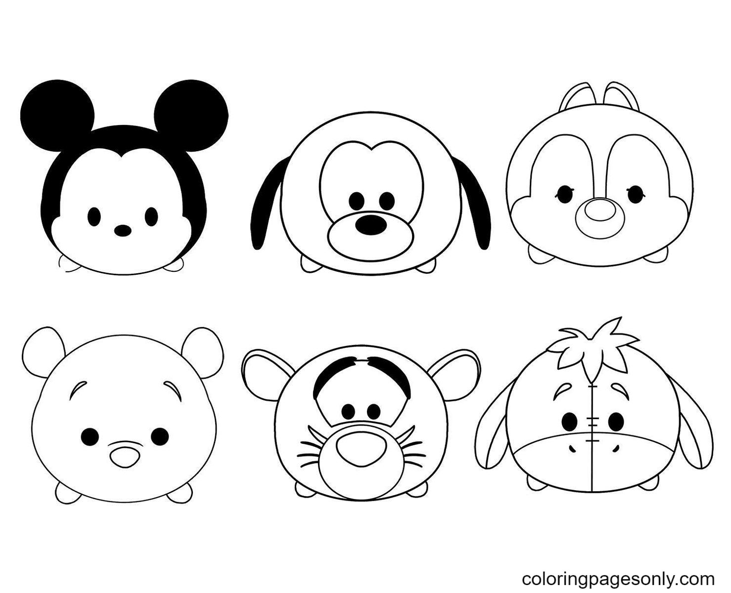 Kawaii Disney Characters Coloring Page
