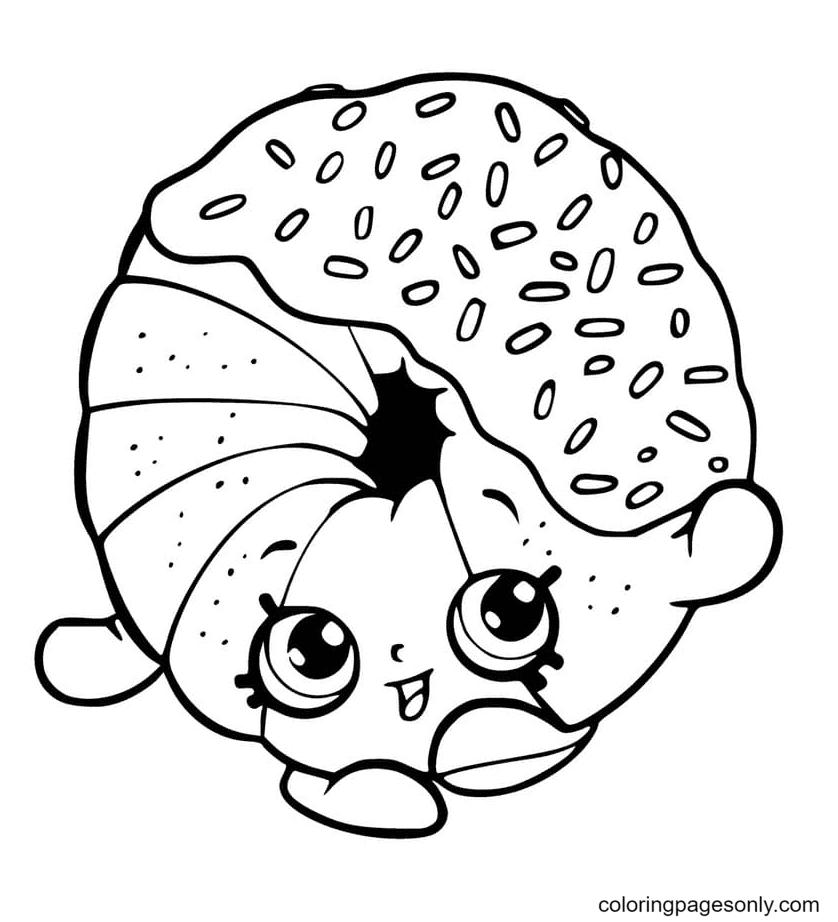 Kawaii Donut Shopkins Coloring Page