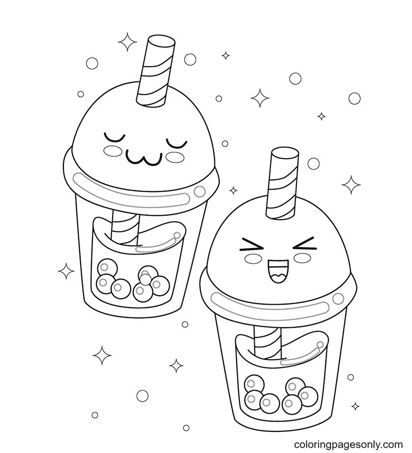 Kawaii Drinks Coloring Page