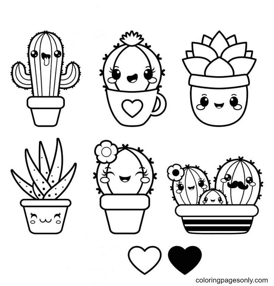 Kawaii Funny Characters Cactus Coloring Page