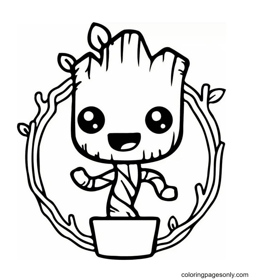 Kawaii Groot Coloring Page