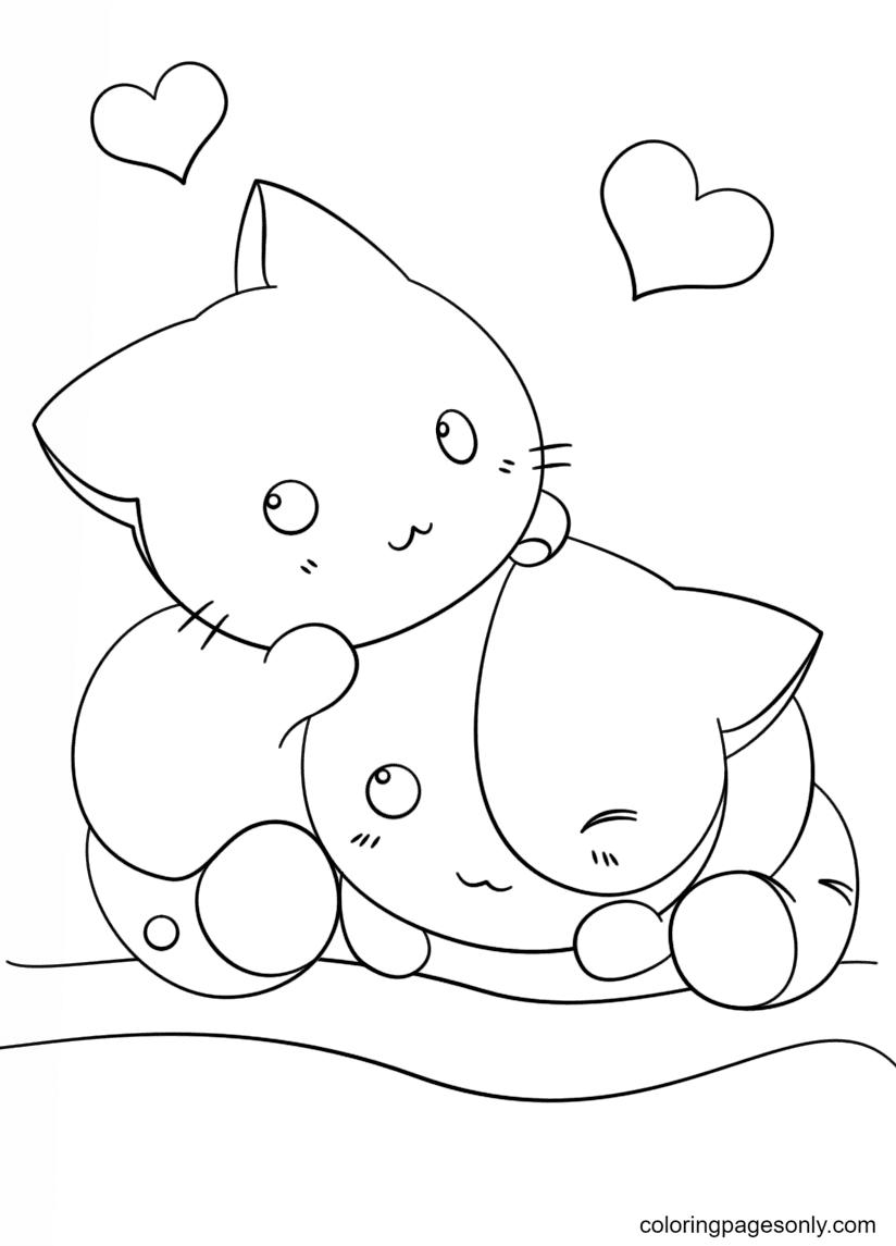 Kawaii Kittens Coloring Page