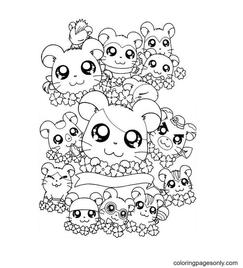Kawaii Many hamsters Coloring Page