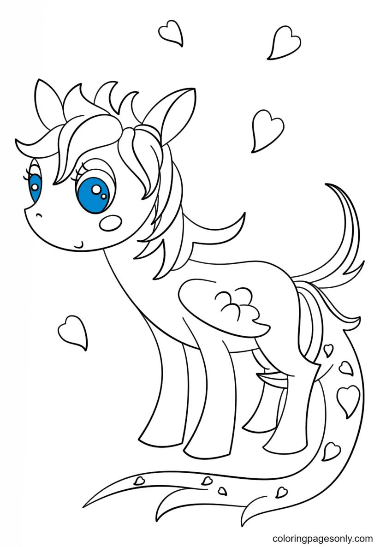 Kawaii Pegasus Pony Coloring Page