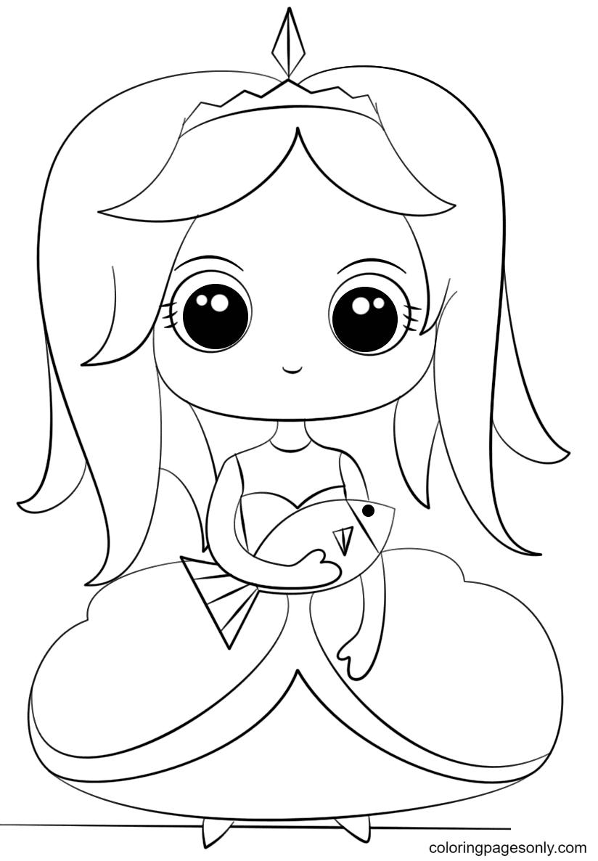 Kawaii Princess with Fish Coloring Page