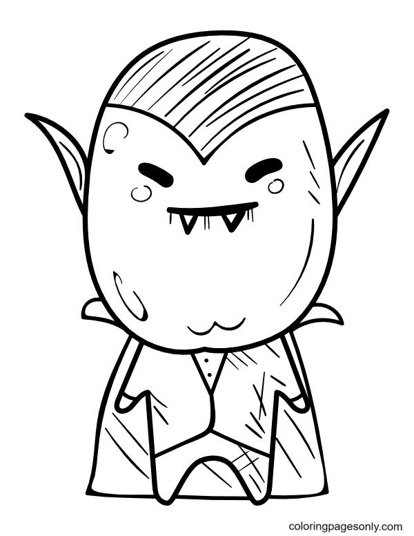 Kawaii Vampire Coloring Page