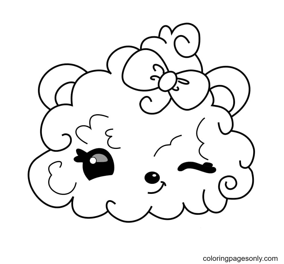 Kawaii cloud winks Coloring Page