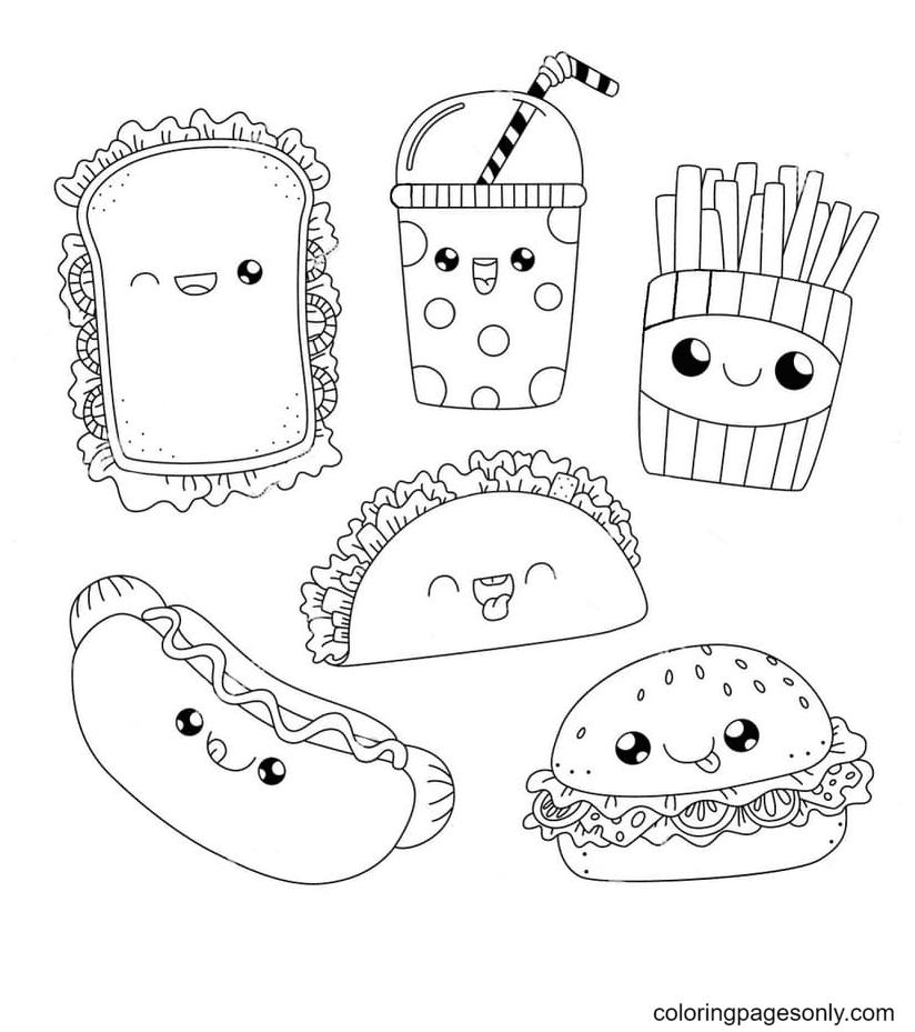 Kawaii fast food Coloring Page